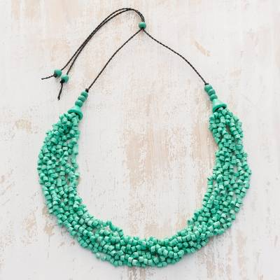 Ceramic beaded torsade necklace, 'Bundled Joy in Aqua' - Aqua Ceramic Beaded Pendant Black Adjustable Cord Necklace