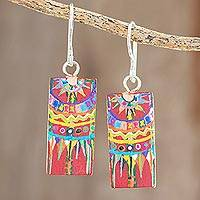 Wood dangle earrings, 'Patzun Marvels' - Hand-Painted Cedar Wood Dangle Earrings from Guatemala