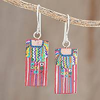 Wood dangle earrings, 'San Juan La Laguna' - Cultural Hand-Painted Wood Dangle Earrings from Guatemala