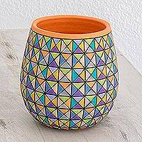 Ceramic decorative vase, 'Pastel Triangles' - Hand-Painted Pastel Triangle Decorative Vase from Nicaragua