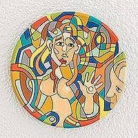 Ceramic decorative plate, 'Feminine Appreciation' - Female Form Ceramic Decorative Plate from Nicaragua
