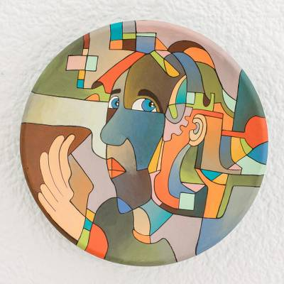 Ceramic decorative plate, 'Abstract Whisper' - Hand-Painted Ceramic Decorative Plate from Nicaragua