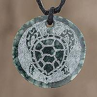 Jade pendant necklace, 'Kawoq' - Hand-Carved Jade Sea Turtle Pendant Necklace from Guatemala