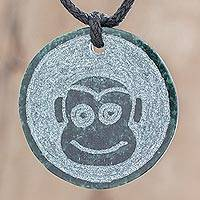 Jade pendant necklace, 'B'atz' - Jade Monkey Pendant Necklace from Guatemala