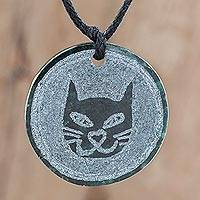 Jade pendant necklace, 'Nahual Cat' - Cat-Themed Jade Medallion Pendant Necklace from Guatemala