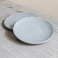 Ceramic salad plates, 'Appetite for Life' (pair) - Artisan Crafted Spiral Motif Salad Plates (Pair)