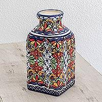 Ceramic vase, 'Contemporary Garden' - Talavera-Style Ceramic Vase Crafted in El Salvador