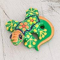 Ceramic figurine, 'Gecko of the Garden in Lime' - Hand-Painted Light Green Floral Motif Gecko Figurine