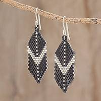 Glass beaded dangle earrings, 'Striking Enchantment' - Two-Tone Glass Beaded Dangle Earrings from El Salvador