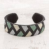 Glass beaded cuff bracelet, 'Jungle Thatch' - Zigzag Glass Beaded Cuff Bracelet from El Salvador