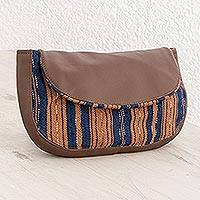 Cotton cosmetic bag, 'Straight Paths' - Handwoven Striped Cotton Cosmetic Bag from El Salvador