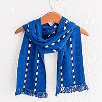 Cotton scarf, 'Courageous Paths' - Striped Cotton Wrap Scarf in Lapis from Guatemala