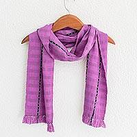 Cotton scarf, 'Youthful Spring' - Handwoven Striped Cotton Scarf in Wisteria from Guatemala