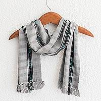 Cotton scarf, 'Elegant Subtlety' - Handwoven Cotton Wrap Scarf in Ash from Guatemala