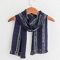 Cotton scarf, 'Ocean Subtlety' - Handwoven Cotton Wrap Scarf in Navy from Guatemala