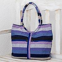 Cotton tote, 'Winter Sunset' - Blue and Purple Striped Cotton Tote from Guatemala