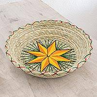 Natural fiber decorative basket, 'Artisanal Star in Yellow' - Yellow Star Natural Fiber Decorative Basket from Guatemala