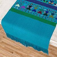 Cotton table runner, 'Guatemalan Harmony' - Blue Cotton Table Runner with Embroidered Motifs