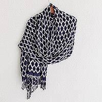 Rayon shawl, 'Navy Honeycomb' - Shibori Handwoven Rayon Shawl in Navy from Guatemala