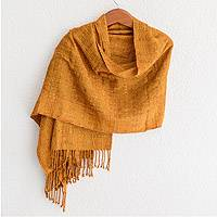 Cotton shawl, 'Subtle Texture in Saffron' - Textured Cotton Shawl in Saffron from Guatemala