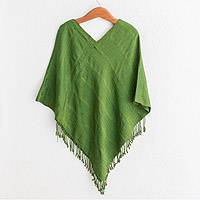 Cotton poncho, 'Forest Texture' - Textured Cotton Poncho in Green from Guatemala