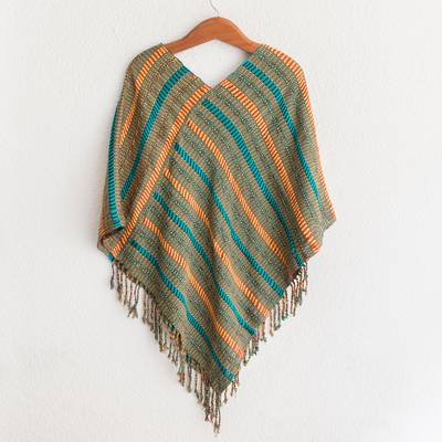 Cotton poncho, 'Beach Stripes' - Handwoven Striped Cotton Poncho from Guatemala