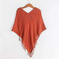 Cotton poncho, 'Fresh Sapodilla' - Handmade Open Weave All Cotton Poncho in Deep Orange