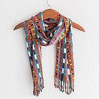 Rayon scarf, 'Colorful Texture' - Colorful Soft Rayon Scarf Hand Woven in Guatemala