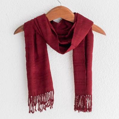 Rayon scarf, 'Color and Texture in Wine' - Wine Red Hand Woven Rayon Scarf with Fringe