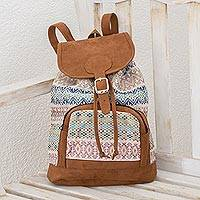 Cotton backpack, 'Traditional Pastel' - Pastel Faux Suede-Accented Cotton Backpack from Guatemala