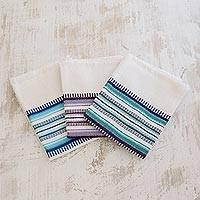 Cotton dish towels, 'Berry Colors' (set of 3) - Set of 3 Handwoven Guatemalan Cotton Dish Towels