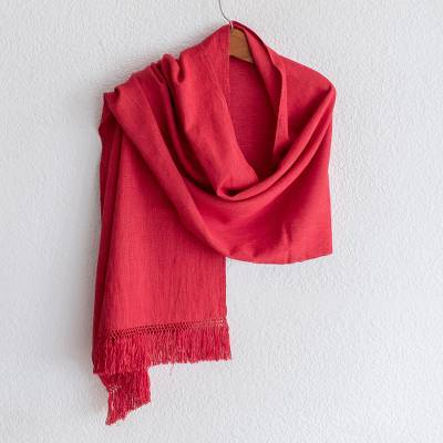 Cotton shawl, 'Subtle Red Nuances' - Guatemalan Handwoven Cotton Shawl in Grenadine Red