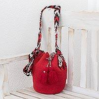 Cotton bucket bag, 'Succulent Strawberry' - Hand-Crocheted Cotton Bucket Bag in Solid Strawberry