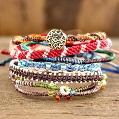 Glass beaded macrame bracelets, Histories (set of 7)