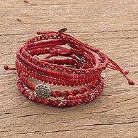 Glass beaded macrame bracelets, 'Boho Histories in Red' (set of 7) - Glass Beaded Macrame Bracelets in Red (Set of 7)