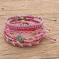 Glass beaded macrame bracelets, 'Boho Histories in Fuchsia' (set of 7) - Glass Beaded Macrame Bracelets in Fuchsia (Set of 7)