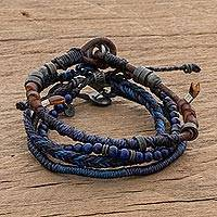 Lapis lazuli and leather bracelets, 'Boho Friends' (set of 4) - Lapis Lazuli and Leather Bracelets from Guatemala (Set of 4)