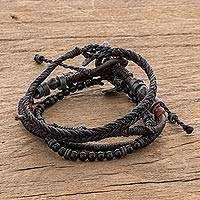 Macrame bracelets, 'Rugged Highlands' (set of 4) - Set of 4 Hand Crafted Macrame Bracelets