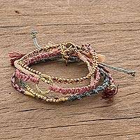 Glass beaded macrame bracelets, 'Powerful Friendship' (set of 5) - Glass Beaded Macrame Bracelets in Various Colors (Set of 5)