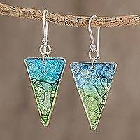 Recycled CD dangle earrings, 'Ombre Triangles' - Triangular Recycled CD Dangle Earrings from Guatemala