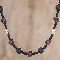 Onyx and cat's eye beaded station necklace, 'What's Next' - Adjustable Onyx and Cat's Eye Station Necklace