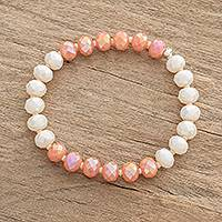 Crystal and glass beaded stretch bracelet, 'Tender Pink' - Pink Crystal and Glass Beaded Stretch Bracelet