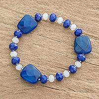 Crystal and glass beaded stretch bracelet, 'Blue Subtlety' - Blue Crystal and Glass Beaded Stretch Bracelet