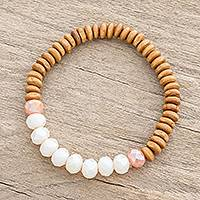 Crystal and wood beaded stretch bracelet, 'Forest Goddess' - Crystal and Pinewood Beaded Stretch Bracelet from Guatemala