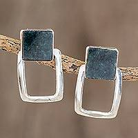 Jade dangle earrings, 'Swinging Rectangles' - Modern Jade Dangle Earrings Crafted in Guatemala