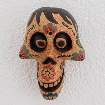 Wood mask, 'Happiness from Beyond' - Rustic Pinewood Smiling Skull Mask Crafted in Guatemala
