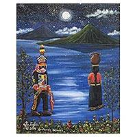 'Beautiful Guatemala' - Original Signed & Stretched Painting of Lake Atitlan