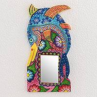 Wood wall mirror, 'Swordfish' - Swordfish-Themed Wood Wall Mirror from Guatemala