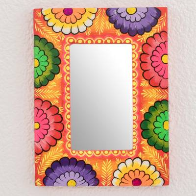 Wood wall mirror, 'Floral Sunset' - Sunset-Hue Floral Wood Wall Mirror from Gautemala