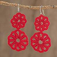 Hand-tatted dangle earrings, 'Rosy Round in Poppy' - Round Hand-Tatted Dangle Earrings in Poppy from Guatemala